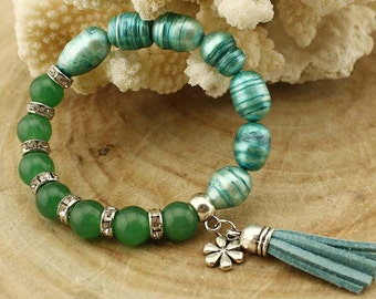 TL410 Blue pearl&Green agate beads bracelet,Leather tassel pearlbracelet,Handmade fashion jewelry,Pearl bracelet,Adjustable elastic bracelet