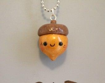 Kawaii Acorn Clay Charm,Polymer Clay charm,Clay Pendant, Food Charm,Minature Food, Nut Charm,Polymer clay figure,Cute Nut charm,