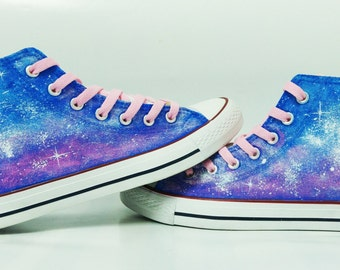 galaxy hand painted shoes converse Custom one of a kind canvas ArtGuy