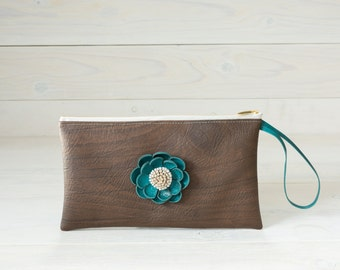Faux Leather Wood Clutch in Walnut with Blue Leather Flower, Dark Brown Clutch, Phone Pouch