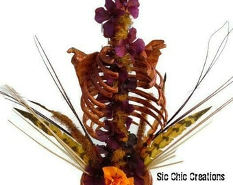 Halloween decor , Macabre  Fall Floral Arrangment Rib Cage and Flowers, Skeleton Decoration