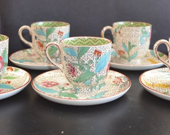 Wedgwood Cup & Saucer Set Art Deco Period Enamel Hand Painted Trellis Bird Floral Design Five Teacups Matching Saucers