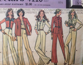 McCall's 4110 vintage 1970's misses shirt-jacket and pants sewing pattern size 10 bust 32 1/2 bust 32.5 waist 25  A Carefree Pattern