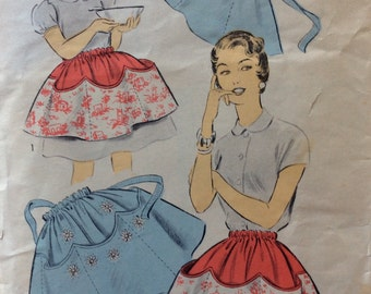CLEARANCE!!  Advance 6925 mother and daughter apron vintage 1950's sewing pattern
