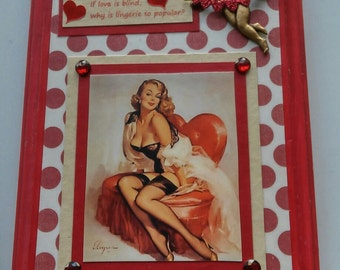 Valentine's Collage, Gil Elvgren Pin-Up, Cupid, Red Polka Dots, Coupon Code SpringSale2017
