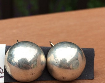 Sterling silver button clip on earrings