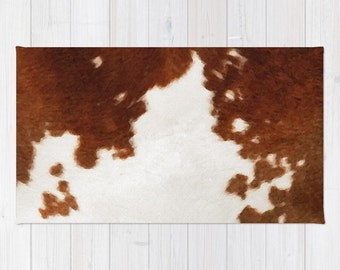 cowhide rug brown and white cow print area rug 2x3 rug cow watercolor living room 3x5