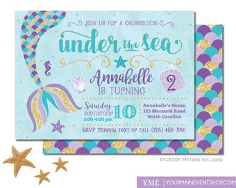 mermaid birthday invitation mermaid invite under the sea party mermaid tail teal purple - Under The Sea Party Invitations