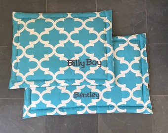 Dog Training Mat * Aqua Blue * Large * Dogbed for a Crate * Grey Elephants * Custom Embroider * Lilly Inspired * Personalize * Custom * TSD
