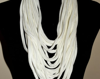 White infinity scarf/white textile necklace/white infinity scarf necklace/boho fabric necklace/boho chic