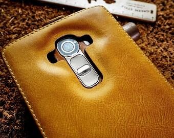 Akira Handmade Genuine Leather Wallet Case Cover Skin Case For LG G4 FLIP Brown