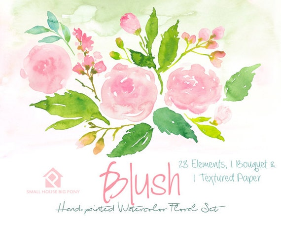 Digital Clipart- Watercolor Flower Clipart, Pink Roses Clip art, Floral Bouquet Clipart, wedding flowers clip art- Blush Elements