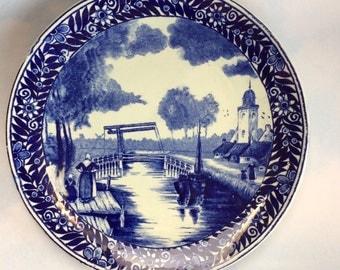 """Antique Blue Delft Boch Dutch 10"""" Pottery Plate Holland"""