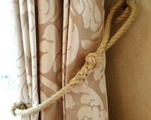 Nautical Curtain Tie-Back, Handmade with Spliced Rope and Turks Head Knots, Beach Decor, Rustic, Coastal. Handmade.