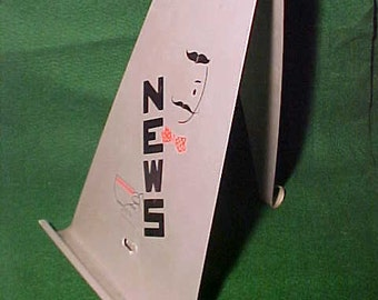Aluminum Newspaper Holder Ca. 1940's His and Hers Table Top Rack