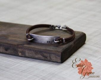 Sterling Silver Bar Bracelet, Men's Leather Bracelet, Monogram, Personalized Jewelry, Hand Stamped Message