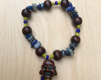 Buddha and Navy Turquoise Bracelet