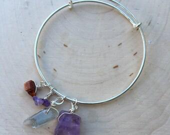 Crystal Bracelet, Crystal Bangle, Amethyst Bracelet