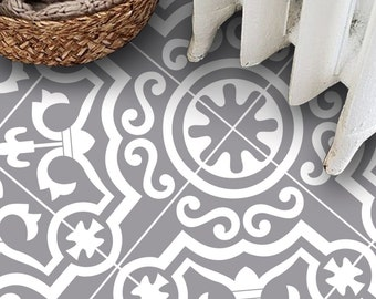 Tile Decals - Tiles for Kitchen/Bathroom Back splash - Floor decals - Carreaux Ciment Encaustic Lys Vinyl Tile Sticker Pack in Dove Grey