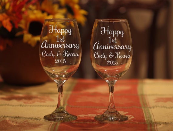 Etched Wine Glasses Wedding Gifts : Wine Glasses, Etched Anniversary Gift, Wedding Anniversary Wine ...