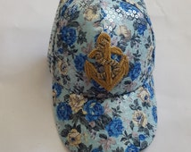 Sale!!! Blue Floral Baseball Cap, Womens, Womens hats, floral print, sequin, Custom Hats, Custom, Flowers, Pins, Patches, Gifts for her