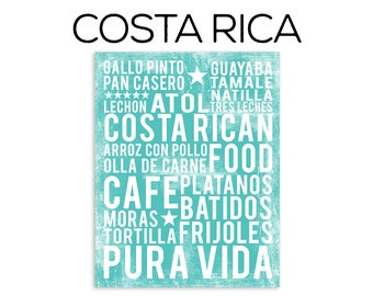 Costa Rican Food Poster - Food Word Art - Various Sizes & Colors