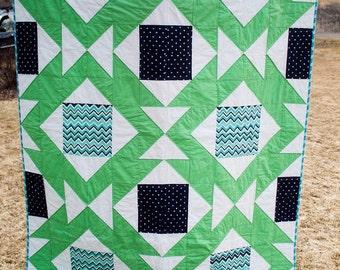 Southwest Dance Quilt,Twin Quilt Pattern, Modern quilt pattern, Tribal Pattern, Aztec pattern, Beginner quilt pattern, digital quilt pattern
