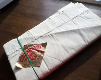 No19 Pair of Unused Vintage French Metis Linen Sheets. Top with Ladder plain bottom.