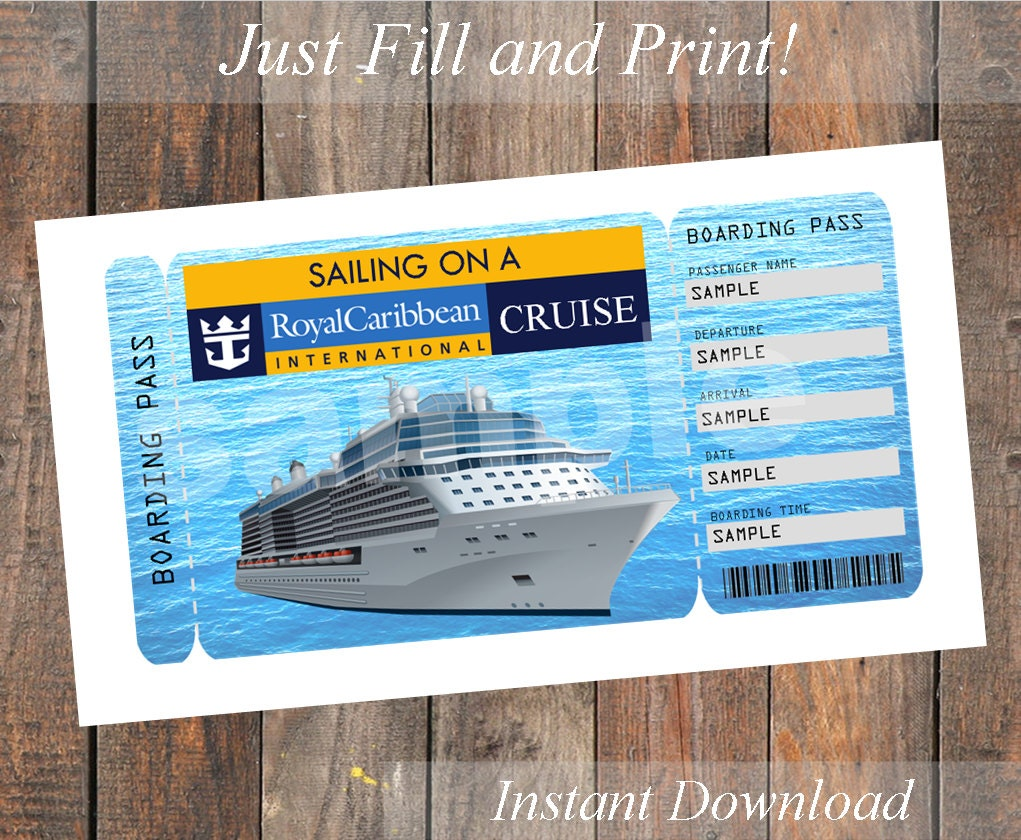 Printable Ticket For A Royal Caribbean Cruise By
