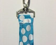 Sky Blue Polka Dot Chapstick Keychain