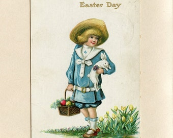 Vintage Easter Postcard Boy in Blue Carrying White Rabbit and Wicker Basket Colored Easter Eggs by Raphael Tuck Used Arlington NY - 5924Pa