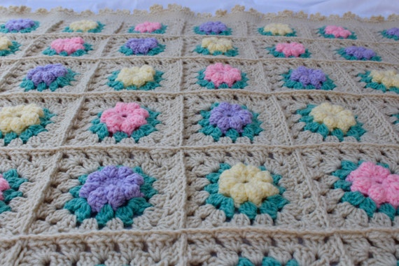 Sale - Ready to Ship**Free Shipping/Crochet Baby Blanket/Crocheted Granny Square/Pink Yellow Purple Lilac Baby Blanket/Knitted Baby Blanket