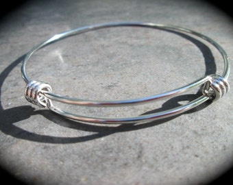 "STAINLESS STEEL bangles adjustable wire bangle bracelet blanks sold per piece Beautiful Quality 2 3/4"" size"