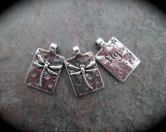 Dragonfly charms Package of 3 charms perfect for pendant necklaces Antique silver finish dragonfly charms