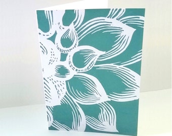 Linocut print, Handmade greeting cards, Dahlia mothers day card, Flower thank you card, Lino cut, Anniversary card, Birthday card, uk shops