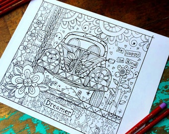 Dreamer Adult Coloring Page -VW BUG/Floral-Lisa Kaus