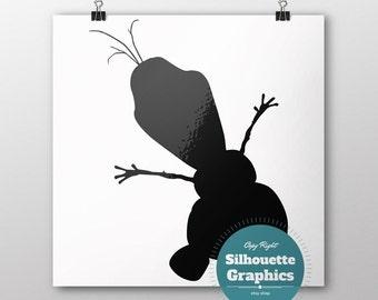 olaf, silhouette, file, svg, eps, disney, font, monogram, princess, large, graphic, illustration, art