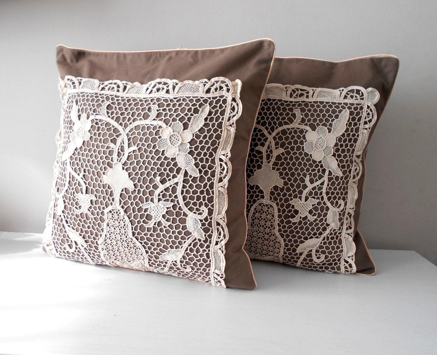 Decorative Pillows Rustic : Rustic Pillow Cover Set Decorative Throw Pillow Brown Pillow