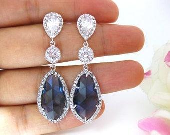 Sapphire Blue Teardrop Earrings Bridal Earrings Wedding Jewelry Blue Earrings Cubic Zirconia Bridesmaids Gift (E044)