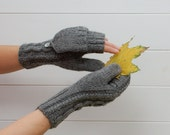 Convertible mittens Natural Wool Hand Knit Accessories - 2in1 Fingerless gloves and Mittens organic merino wool