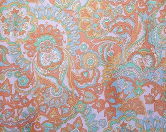 V.I.P fabric..A Bates print polished cotton paisley fabric pastel pink, orange, blue, green.