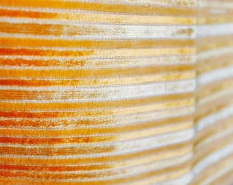 Yellow/orange stripped raised velveteen upholstery fabric vintage 60's or 70's - stripes