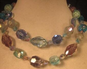 Vintage Double Strand Austrian Aurora Borealis Crystal Bead Choker- Blues Purples and Pink