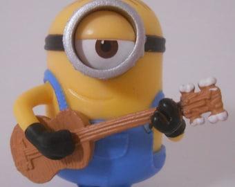CUSTOM Christmas Ornament Made From Minions Movie Minion Stuart Playing Ukulele Guitar