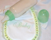 9oz Mint Green Reborn Baby Doll Fake Milk Formula Bottle Frilly Embroidered Baby Bib