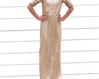 Girl's Long Gold Sequin Dress