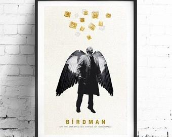 """BIRDMAN, Original Art, Minimalist Movie Poster Print 24 x 36"""""""