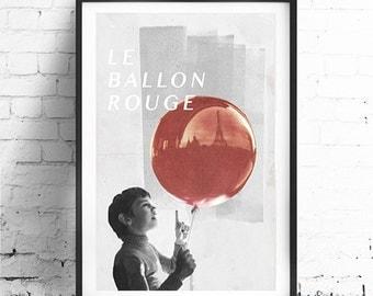 "THE RED Balloon, Original Art, Minimalist Movie Poster Print 13 x 19"""
