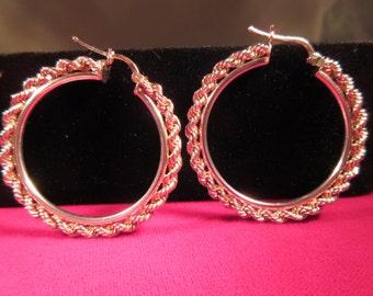 Boho Sterling Silver Rope Hoop Earrings