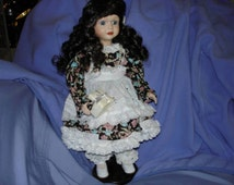 Vintage Sister Of Bride Porcelain Doll With Gift Lovely Spiral Curls, Dress and Pinafore in Excellent Condition